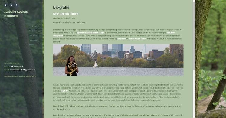 Voorbeeld eigen site hoorniste Isabelle Roelofs