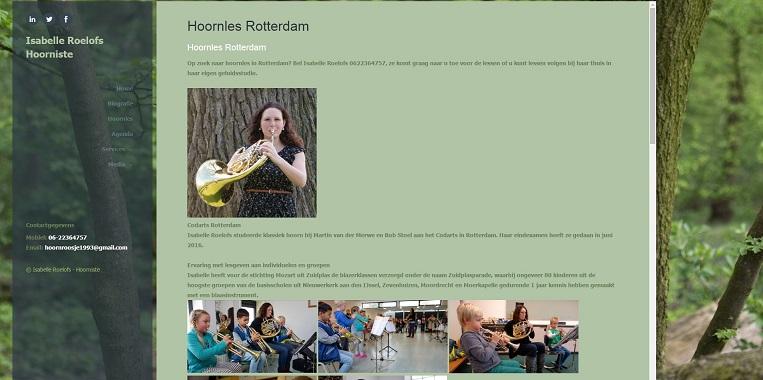 Voorbeeld SEO pagina hoorniste Isabelle Roelofs